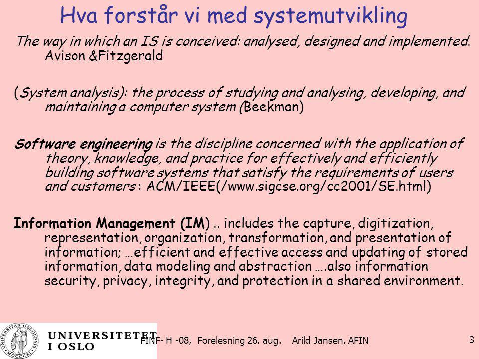 Hva forstår vi med systemutvikling