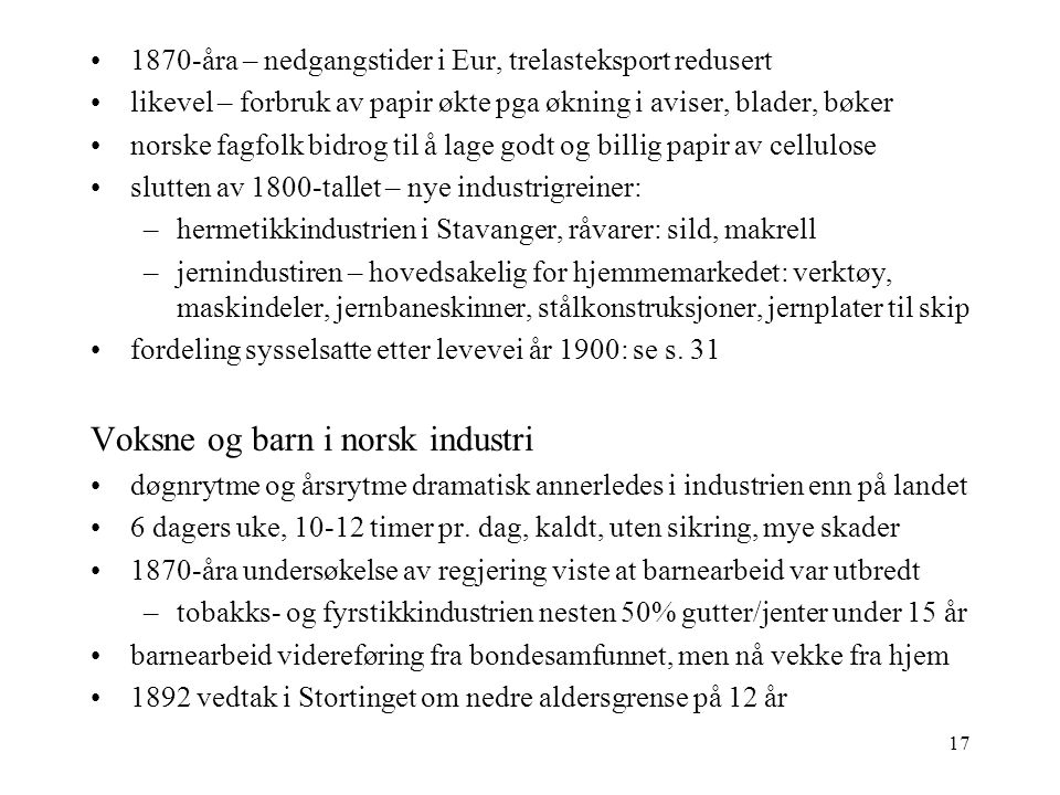 Voksne og barn i norsk industri