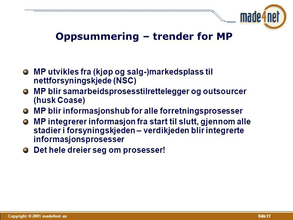 Oppsummering – trender for MP