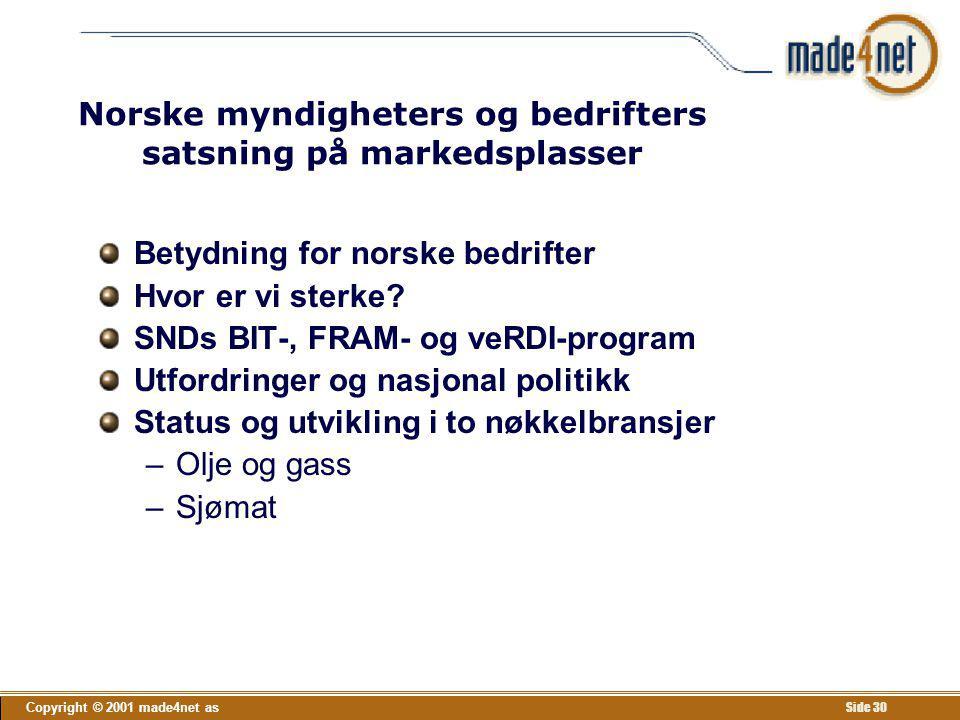 Norske myndigheters og bedrifters satsning på markedsplasser