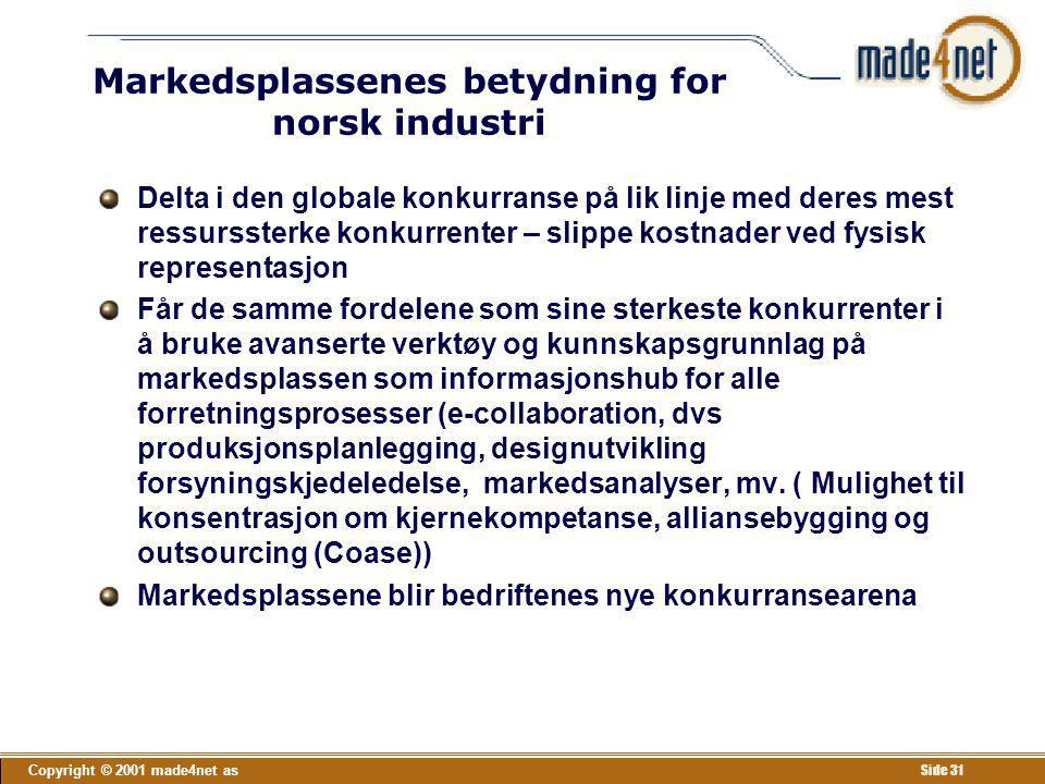 Markedsplassenes betydning for norsk industri
