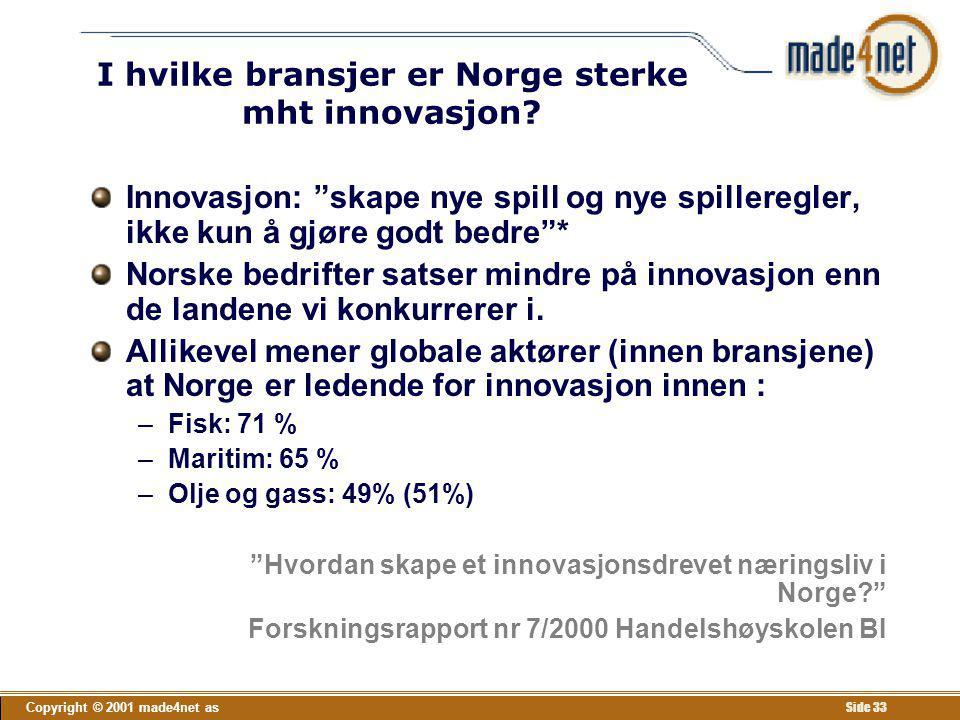 I hvilke bransjer er Norge sterke mht innovasjon