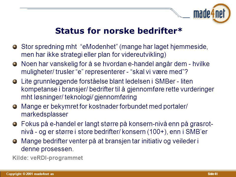 Status for norske bedrifter*