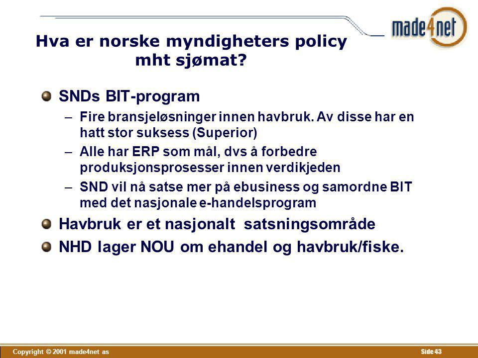 Hva er norske myndigheters policy mht sjømat