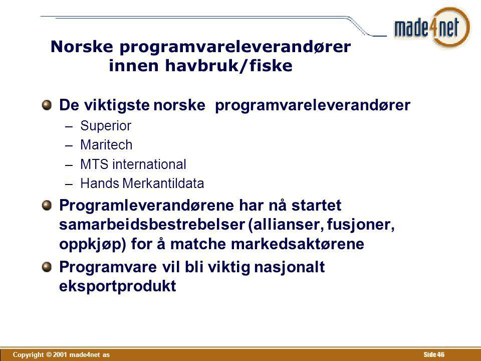 Norske programvareleverandører innen havbruk/fiske