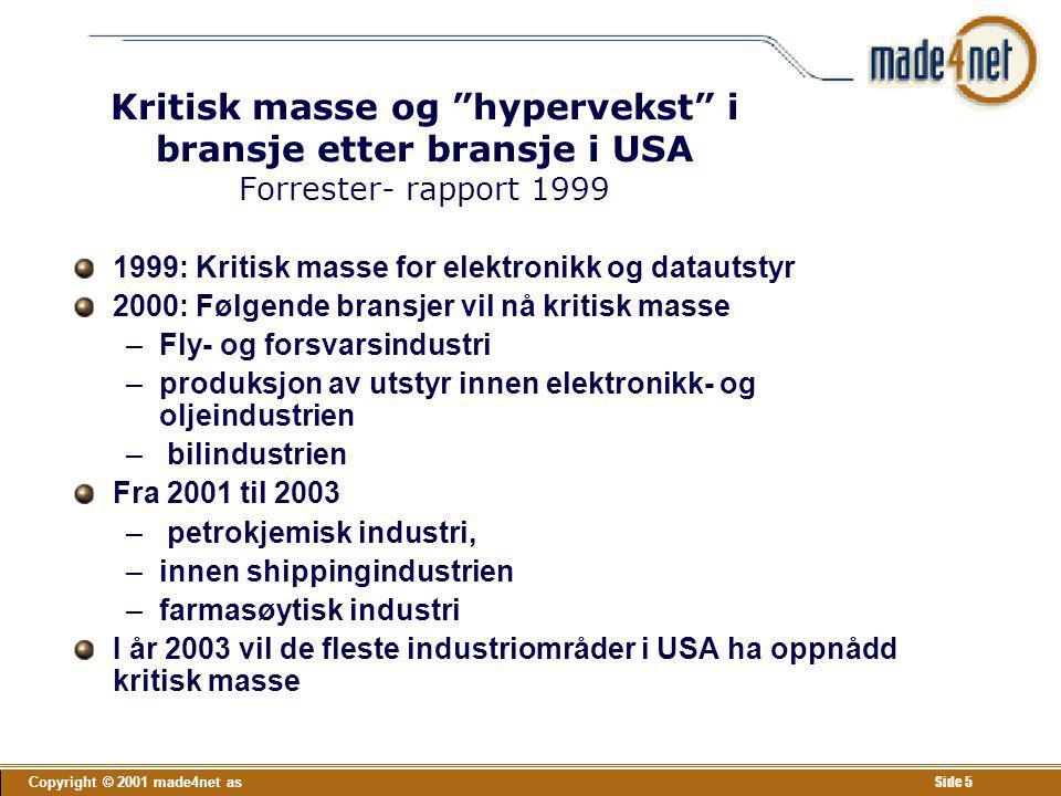 Kritisk masse og hypervekst i bransje etter bransje i USA Forrester- rapport 1999