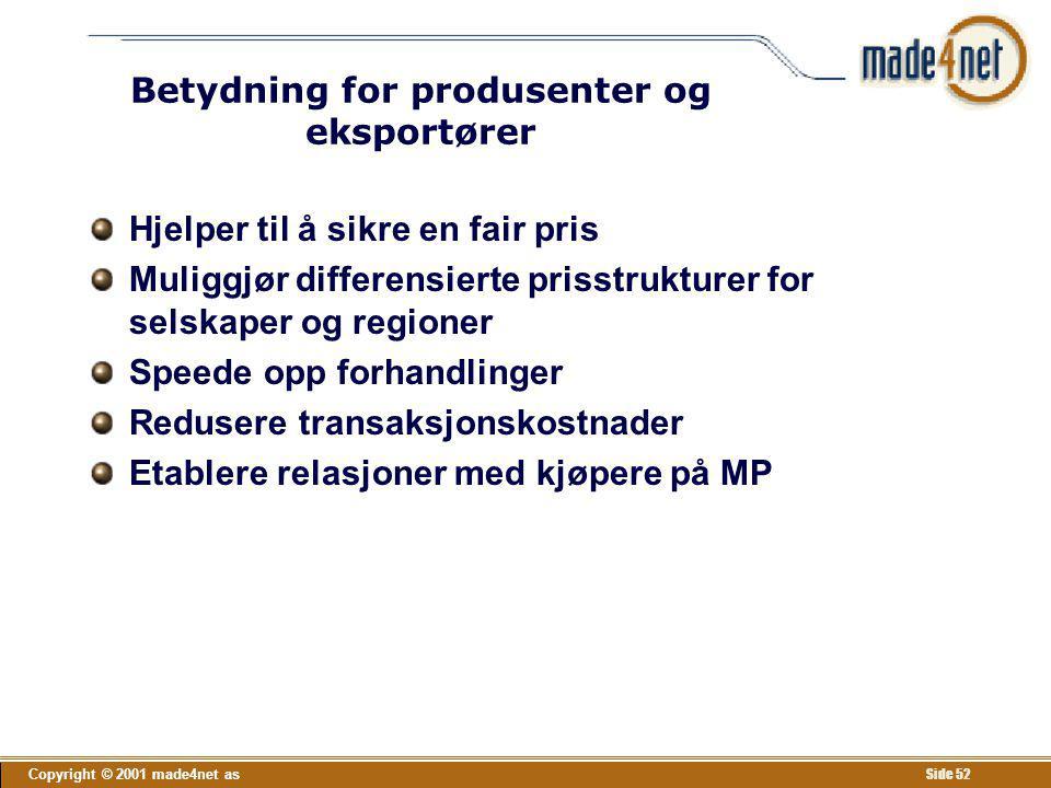 Betydning for produsenter og eksportører