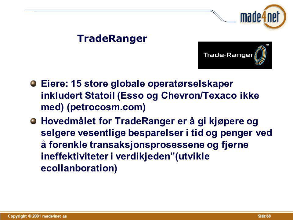 TradeRanger Eiere: 15 store globale operatørselskaper inkludert Statoil (Esso og Chevron/Texaco ikke med) (petrocosm.com)