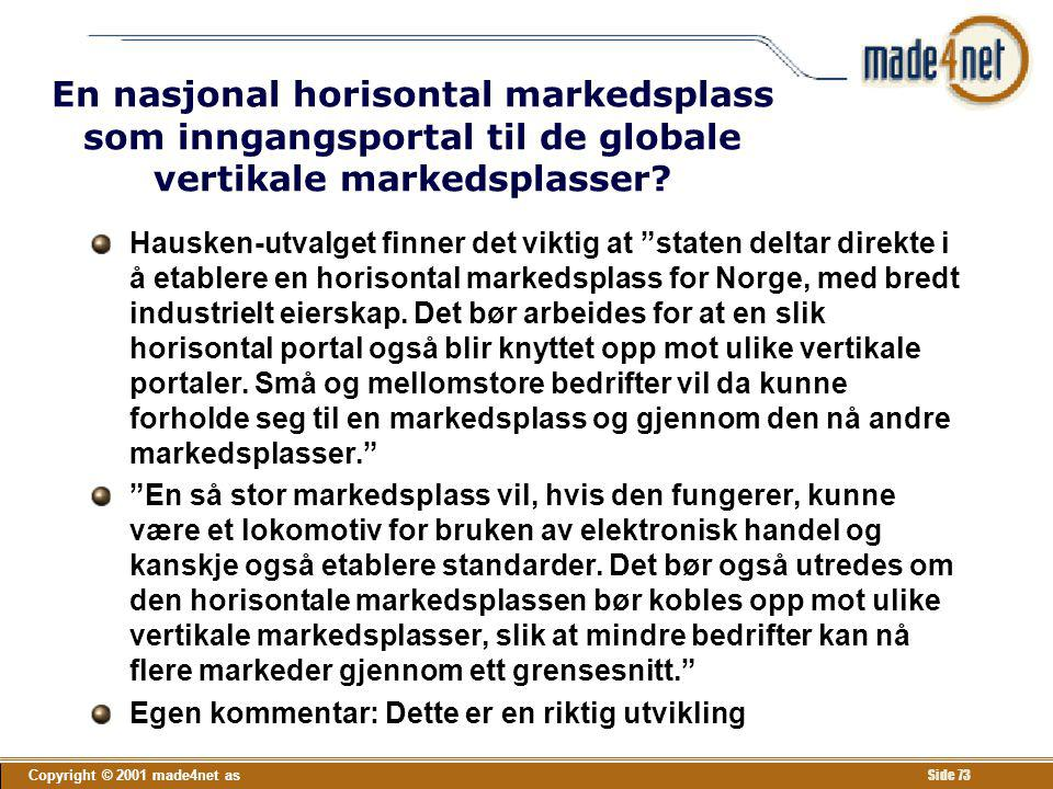 En nasjonal horisontal markedsplass som inngangsportal til de globale vertikale markedsplasser