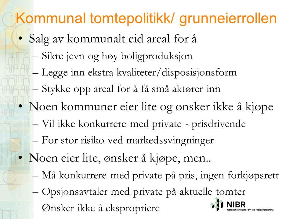 Kommunal tomtepolitikk/ grunneierrollen
