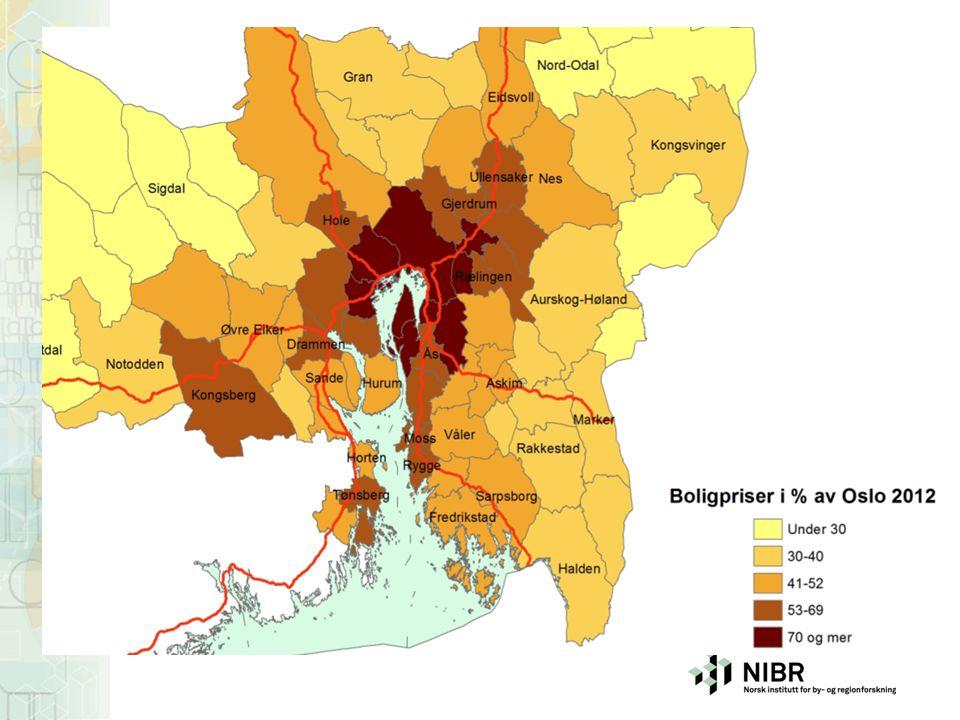 Prisnivået er korrigert for hustype, størrelse, byggeår m. m