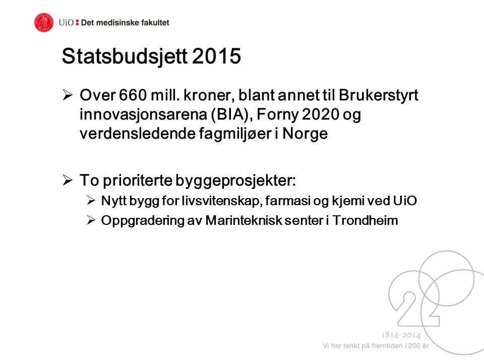 Statsbudsjett 2015 Over 660 mill. kroner, blant annet til Brukerstyrt innovasjonsarena (BIA), Forny 2020 og verdensledende fagmiljøer i Norge.