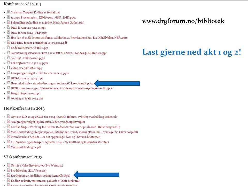 Last gjerne ned akt 1 0g 2! og www.drgforum.no/bibliotek