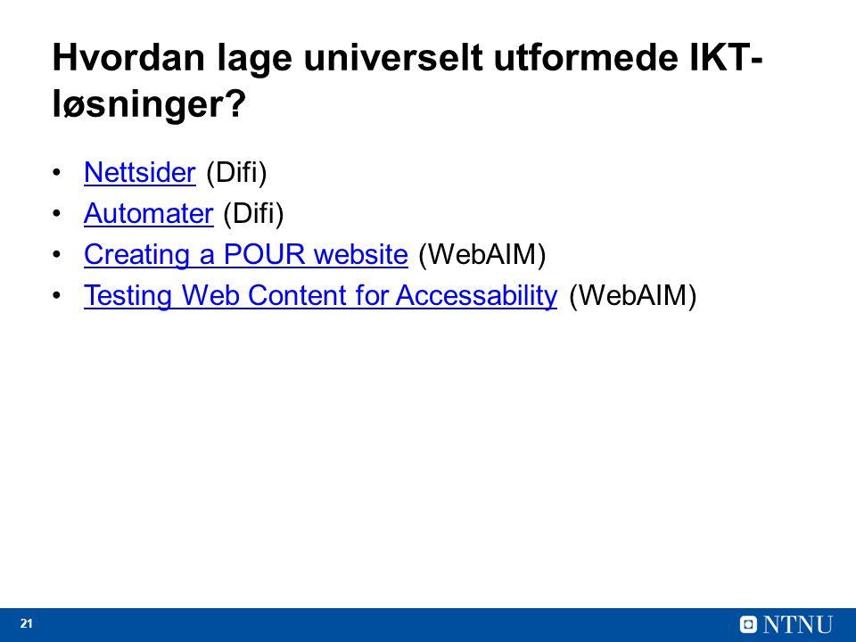 Hvordan lage universelt utformede IKT-løsninger