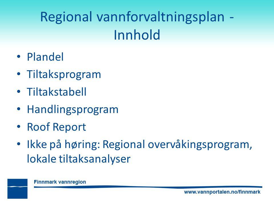 Regional vannforvaltningsplan - Innhold