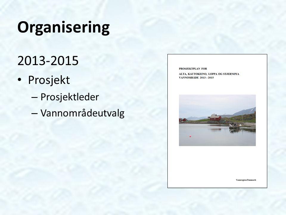 Organisering 2013-2015 Prosjekt Prosjektleder Vannområdeutvalg