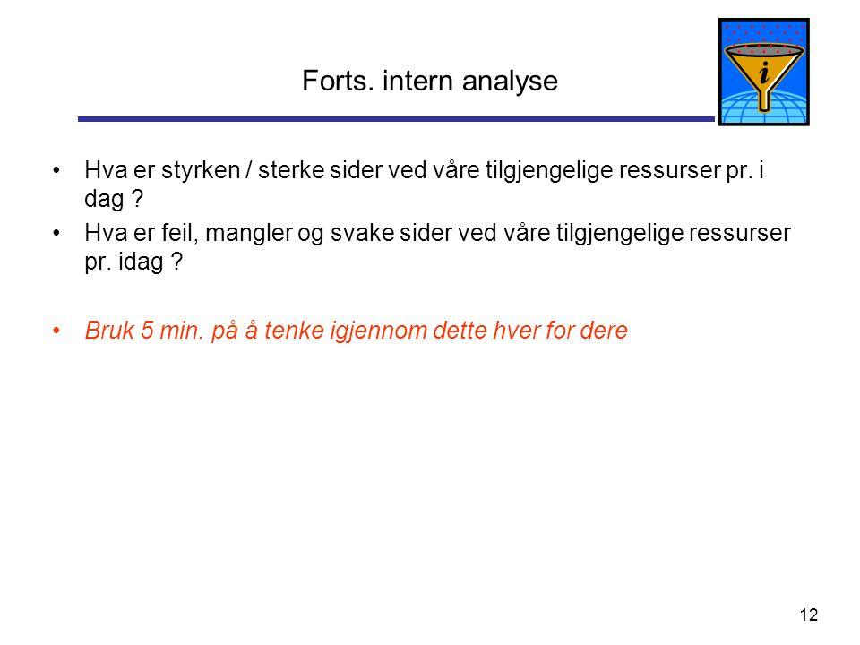Forts. intern analyse Hva er styrken / sterke sider ved våre tilgjengelige ressurser pr. i dag