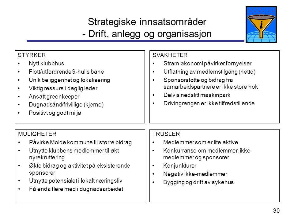 Strategiske innsatsområder - Drift, anlegg og organisasjon