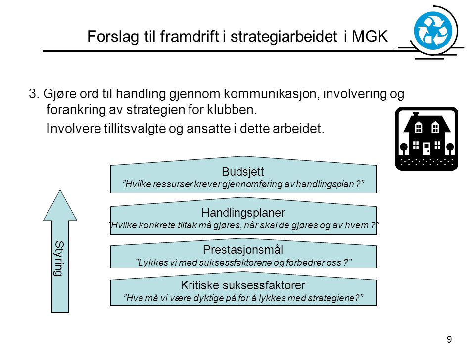 Forslag til framdrift i strategiarbeidet i MGK