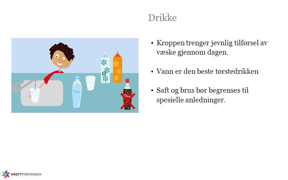 Drikke Kroppen trenger jevnlig tilførsel av væske gjennom dagen.