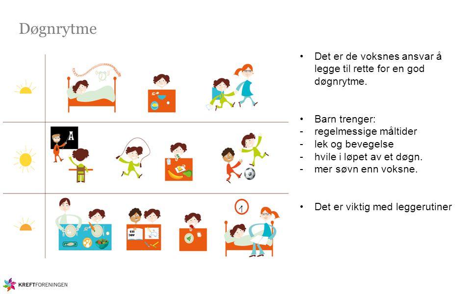 Døgnrytme Det er de voksnes ansvar å legge til rette for en god døgnrytme. Barn trenger: regelmessige måltider.