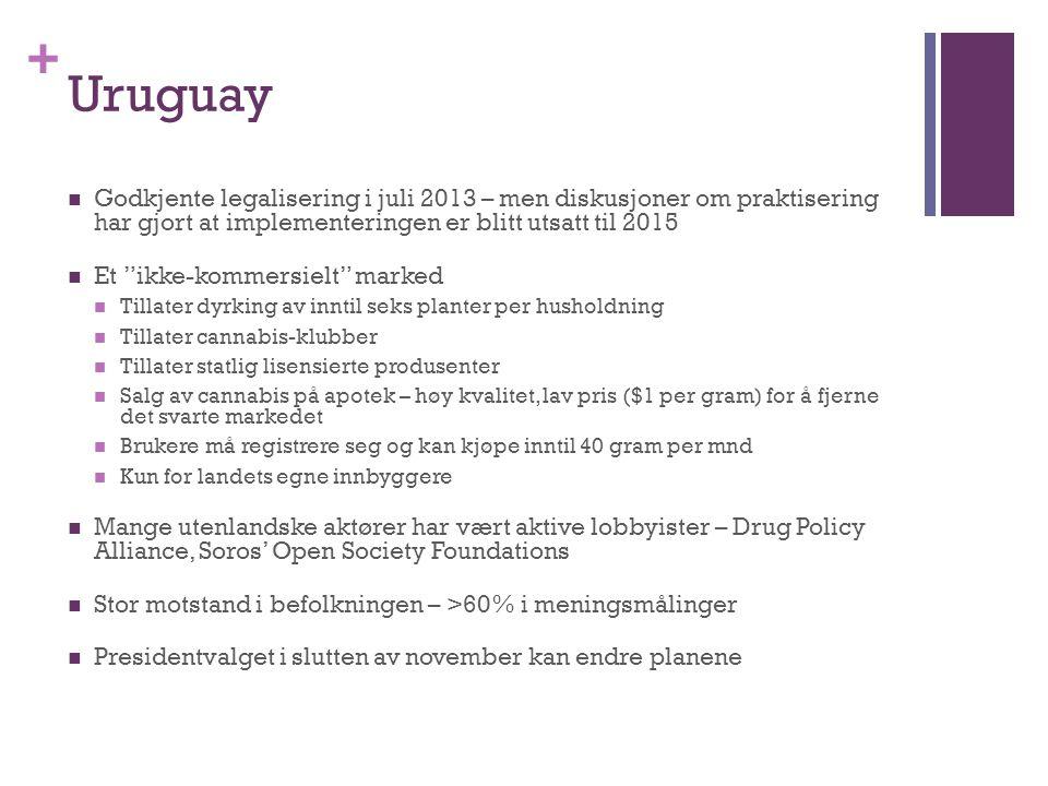 Uruguay Godkjente legalisering i juli 2013 – men diskusjoner om praktisering har gjort at implementeringen er blitt utsatt til 2015.