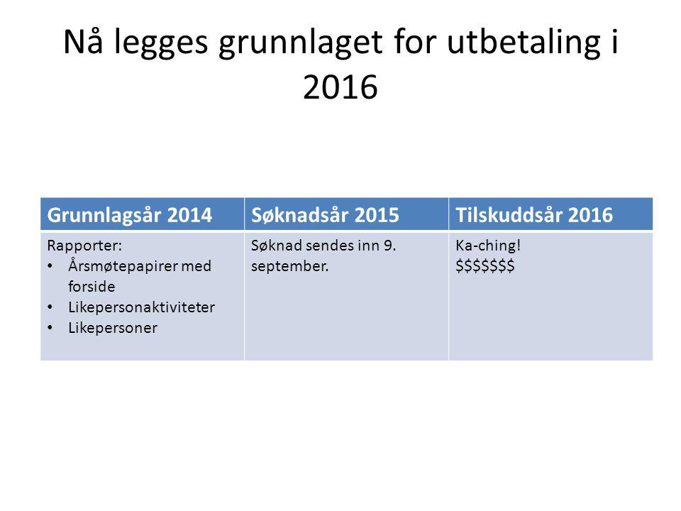 Nå legges grunnlaget for utbetaling i 2016
