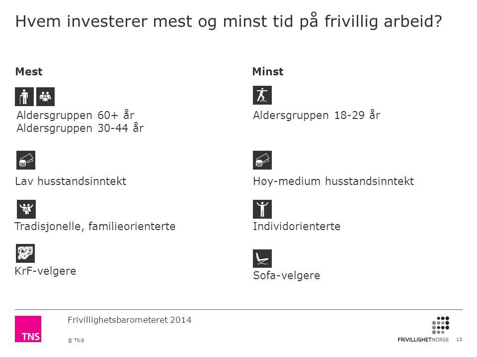 Hvem investerer mest og minst tid på frivillig arbeid