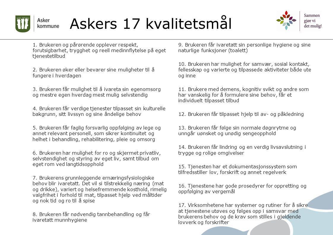 Askers 17 kvalitetsmål 1. Brukeren og pårørende opplever respekt, forutsigbarhet, trygghet og reell medinnflytelse på eget tjenestetilbud.