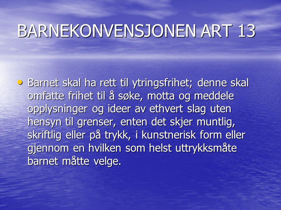 BARNEKONVENSJONEN ART 13