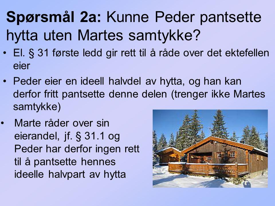 Spørsmål 2a: Kunne Peder pantsette hytta uten Martes samtykke