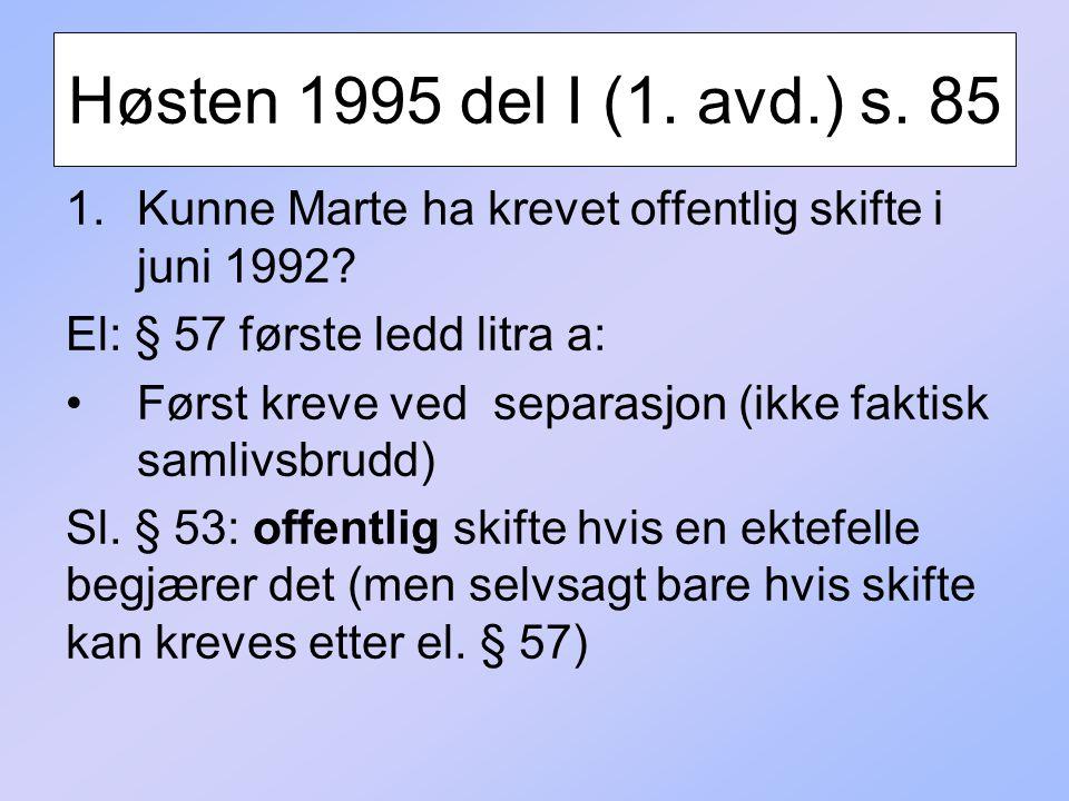 Høsten 1995 del I (1. avd.) s. 85 Kunne Marte ha krevet offentlig skifte i juni 1992 El: § 57 første ledd litra a: