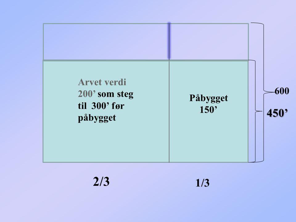 2/3 450' 1/3 Arvet verdi 200' som steg til 300' før påbygget 600