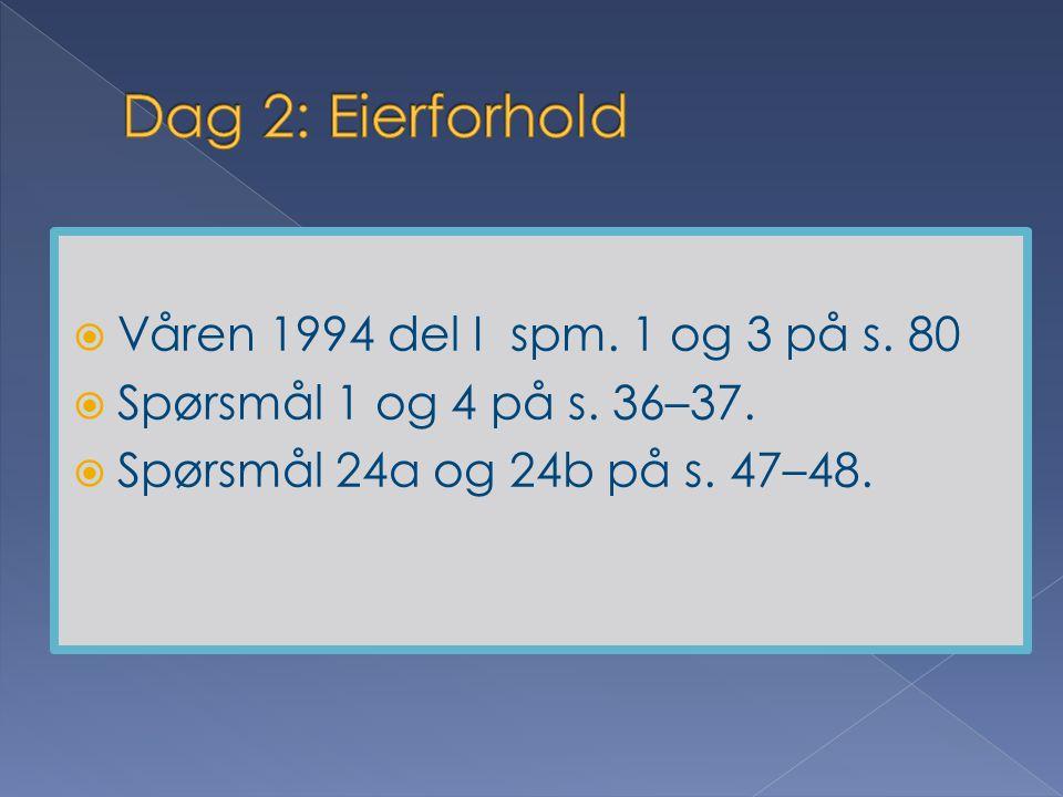 Dag 2: Eierforhold Våren 1994 del I spm. 1 og 3 på s. 80