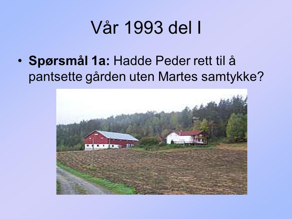 Vår 1993 del I Spørsmål 1a: Hadde Peder rett til å pantsette gården uten Martes samtykke