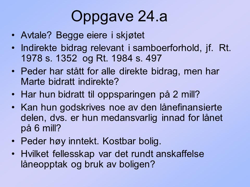 Oppgave 24.a Avtale Begge eiere i skjøtet