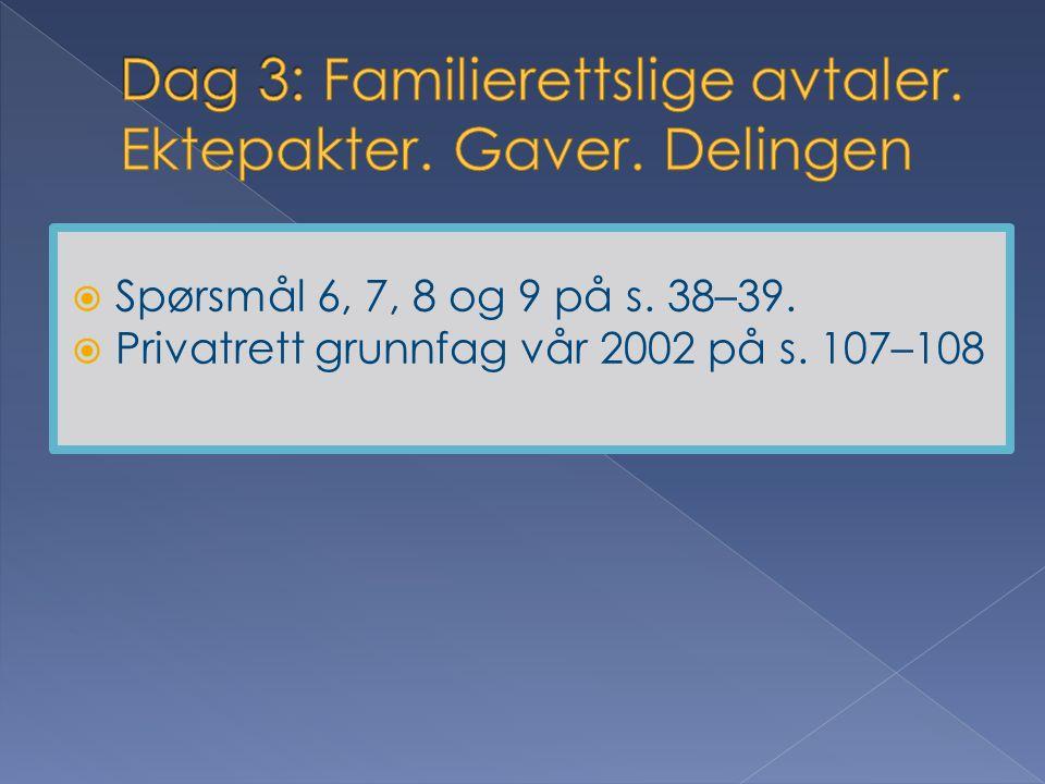 Dag 3: Familierettslige avtaler. Ektepakter. Gaver. Delingen