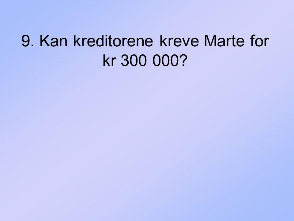 9. Kan kreditorene kreve Marte for kr 300 000