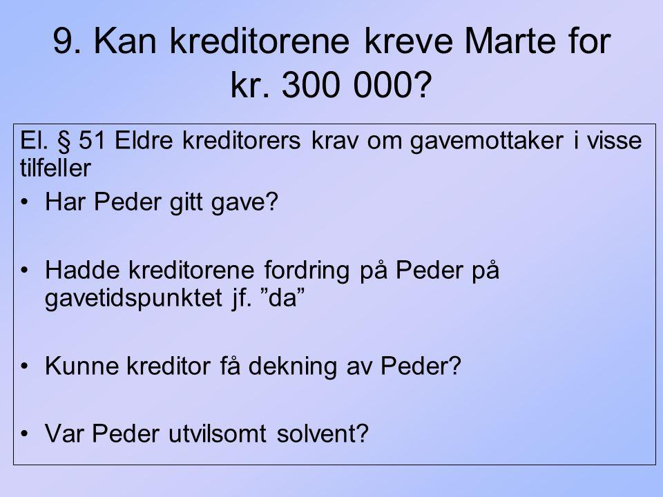 9. Kan kreditorene kreve Marte for kr. 300 000