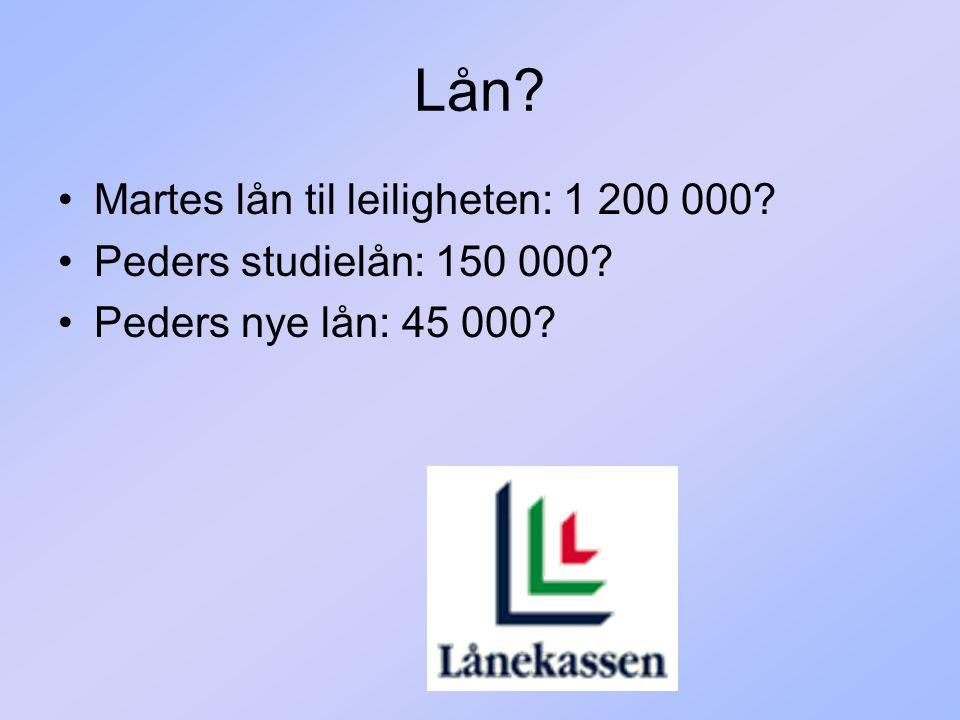 Lån Martes lån til leiligheten: 1 200 000 Peders studielån: 150 000