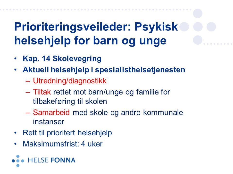 Prioriteringsveileder: Psykisk helsehjelp for barn og unge