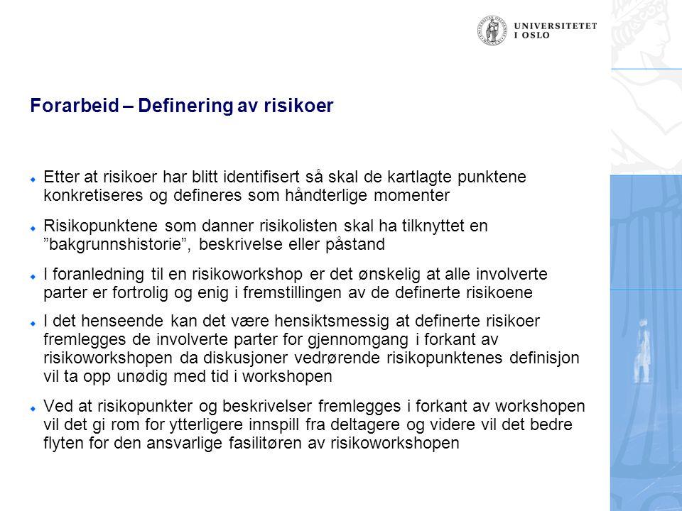 Forarbeid – Definering av risikoer