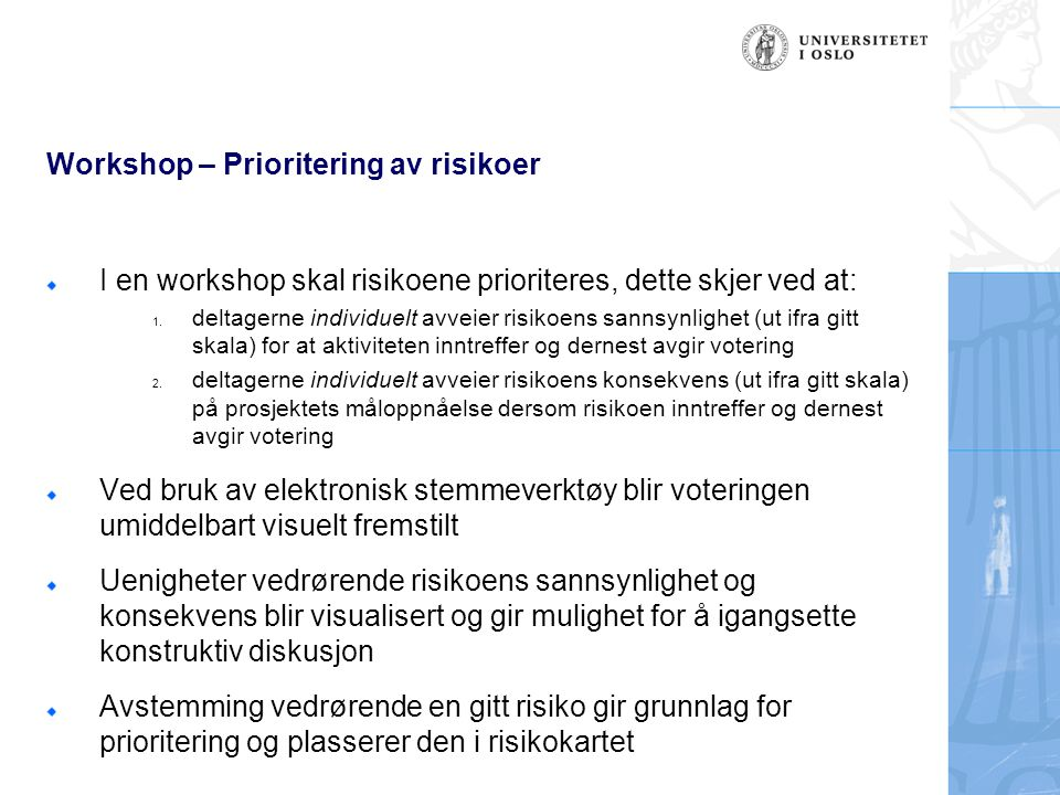 Workshop – Prioritering av risikoer