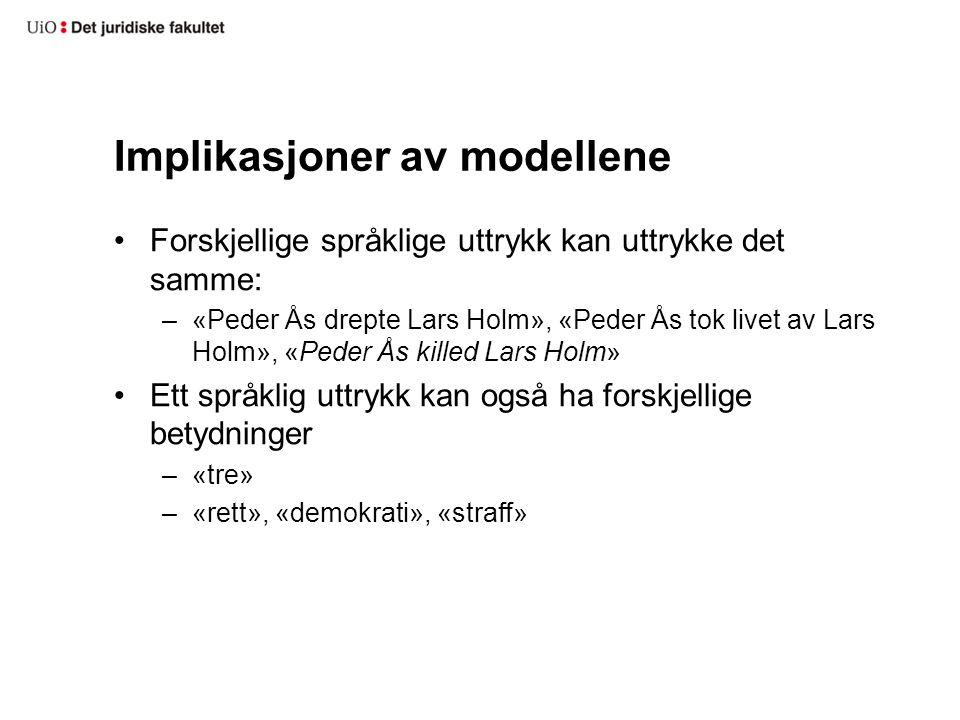 Implikasjoner av modellene