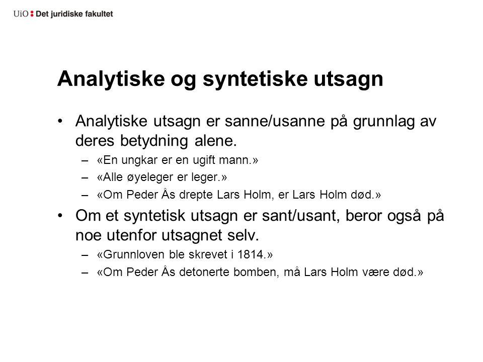 Analytiske og syntetiske utsagn