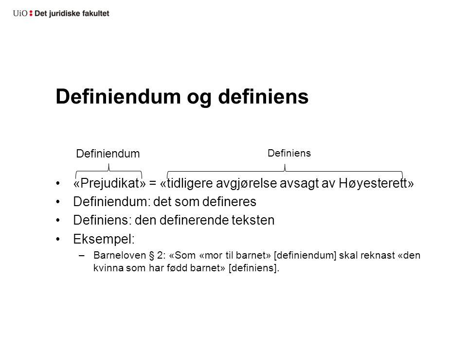 Definiendum og definiens