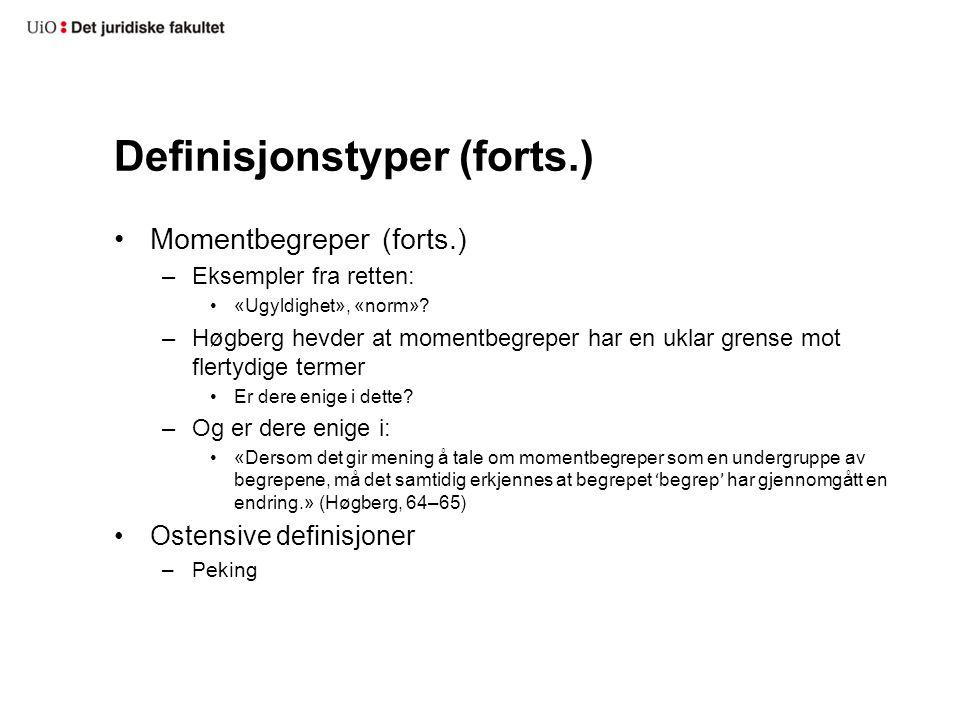 Definisjonstyper (forts.)
