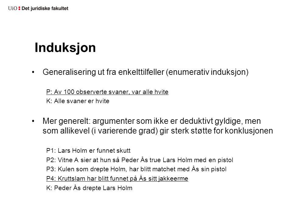 Induksjon Generalisering ut fra enkelttilfeller (enumerativ induksjon)