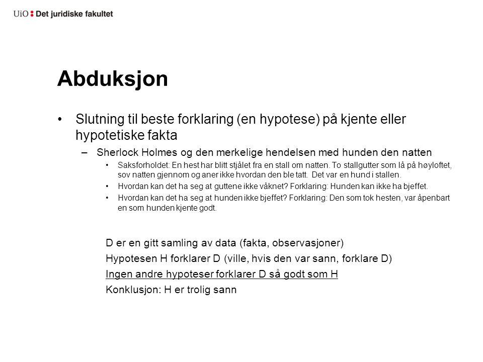 Abduksjon Slutning til beste forklaring (en hypotese) på kjente eller hypotetiske fakta.