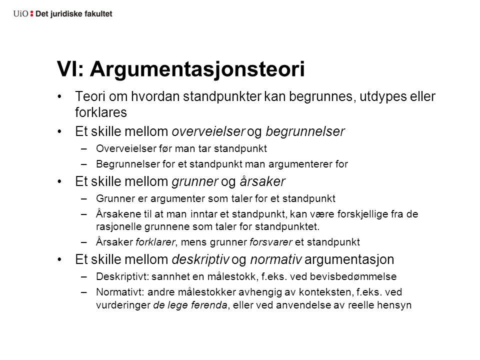 VI: Argumentasjonsteori